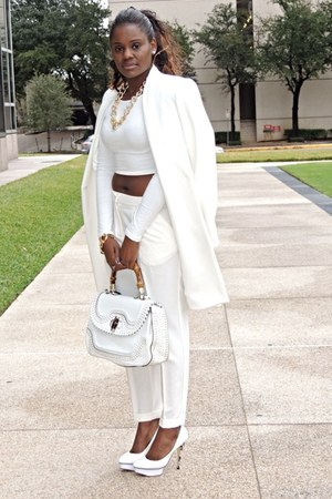 white Zara coat - Forever 21 top - Zara pants - heels