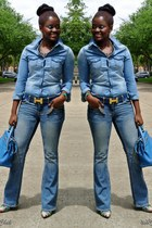 turquoise blue denim American Eagle jeans - light blue denim J Brand shirt