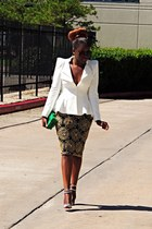 light brown virgos lounge skirt - white lookbookstore blazer