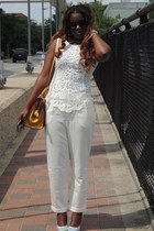 ivory lookbookstore top - white Forever 21 pants - silver Shoedazzle wedges