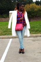 light blue American Eagle jeans - white Zara coat - hot pink Hermes bag