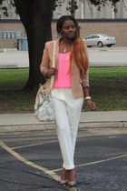 bubble gum Forever 21 blouse - burnt orange Zara blazer - white Aldo bag