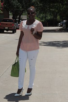 white Levis pants - pink Forever 21 blouse - white Shoedazzle pumps