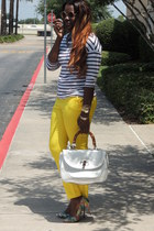 white Gucci bag - yellow Zara pants - green Prabal Gurung pumps