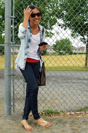 American Eagle jeans - denim button up Zara shirt - bucket bag Club Monaco bag