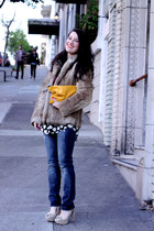 vintage coat - rock and republic jeans - DIY bag - Equipment blouse - Zara heels