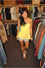 Yellow-forever-21-top-blue-forever-21-shorts-beige-sheikhs-shoes-blue-bag