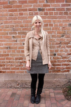 black BP boots - tan banana republic sweater - black We Love Colors tights