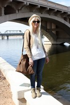 tan butter wedges Blowfish Shoes boots - blue Levis jeans - beige Target hat