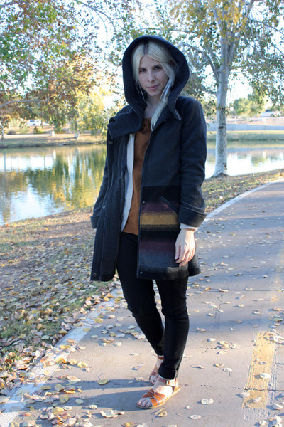 black lulus coat - black Levis jeans - burnt orange Vanilla and Lace blouse