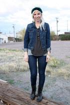 black Steve Madden boots - blue Levis jeans - blue Levis jacket