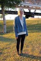 light brown Blowfish Shoes boots - blue Levis jeans - blue Levis sweater