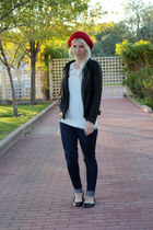 red JCPenney hat - blue Levis jeans - black JCPenney jacket