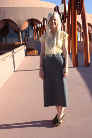 yellow Levis shirt - gray vintage Pendleton skirt - brown Blowfish Shoes wedges