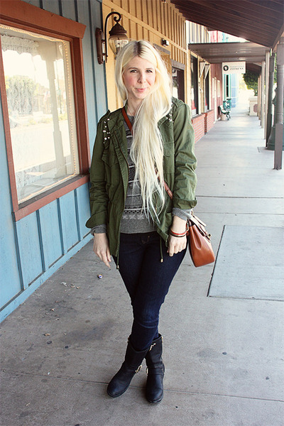 army green Nordstrom jacket - black leather Vince Camuto boots - blue Gap jeans
