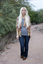 camel American Living cardigan - brown Minnetonka shoes - blue Levis jeans