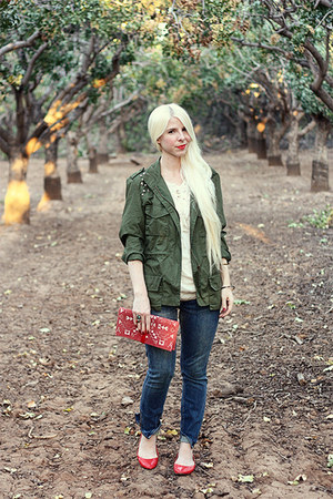 blue madewell jeans - army green Fire jacket - brick red suede handmade bag