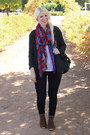 red Target scarf - dark brown DSW boots - blue Gap jeans - black coach bag