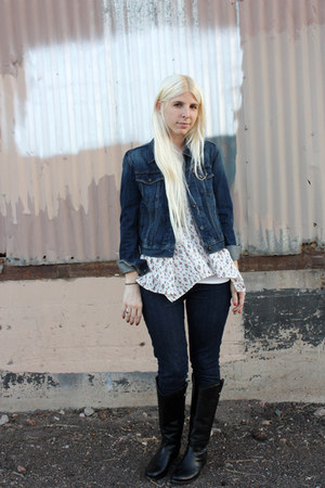 blue jean jacket Levis jacket - black Frye boots - blue Levis jeans
