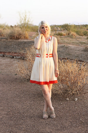 cream Ruche dress - burnt orange kate spade bracelet - gold kate spade bracelet