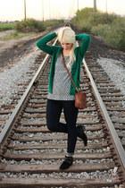 blue Gap jeans - black sam edelman boots - brown leather coach purse