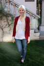 Blue-levis-jeans-off-white-target-shirt-ruby-red-target-cardigan