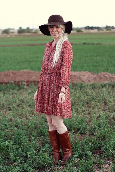 dark brown leather Steve Madden boots - crimson threadsence dress