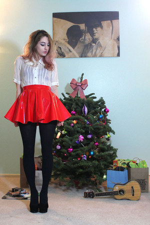 red vinyl I MADE IT skirt - white Urban Outfitters blouse - black H&M stockings