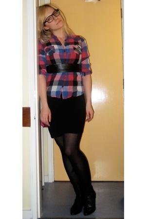 Topshop shirt - American Apparel skirt - Topshop belt - thrifted boots - Ebay gl