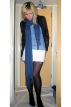 dont know top - Topshop skirt - H&M scarf - H&M jacket - Primark tights - Topsho