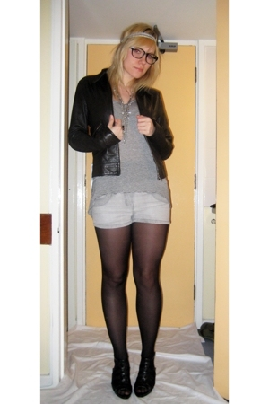 Topshop t-shirt - thrifted shorts - H&amp;M jacket - Newlook shoes - Ebay glasses - 