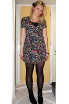Topshop dress - Topshop top - vintage boots - Primark tights - H&M accessories