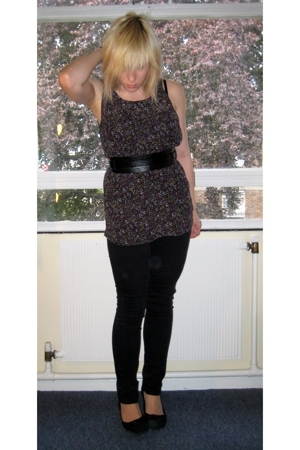thrifted blouse - Topshop belt - H&M pants - H&M shoes