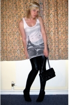 Topshop top - Topshop leggings - Chanel lambskin 255 accessories - vintage shoes
