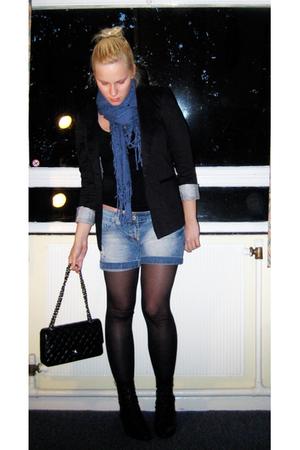 Chanel lambskin 255 accessories - Zara blazer - H&M t-shirt - H&M scarf - thrift