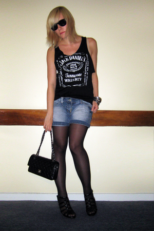 Jack Daniels top - thrifted shorts - Newlook shoes - Chanel lambskin 255 accesso