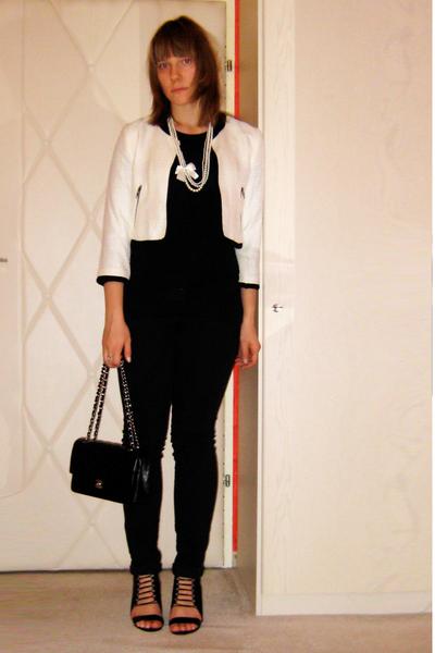 beige cropped H&M jacket - black wedges Aldo shoes - black Pimkie pants