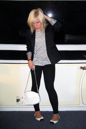 white striped H&M top - white Zara shoes - black Primark leggings