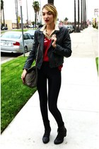 ruby red v-neck calvin klein sweater - black silver details Steve Madden boots