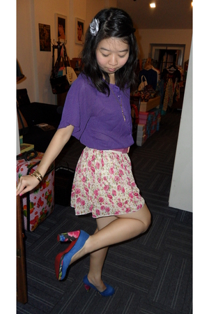 purple vintage top - pink vintage belt - blue online skirt - vintage shoes - gol