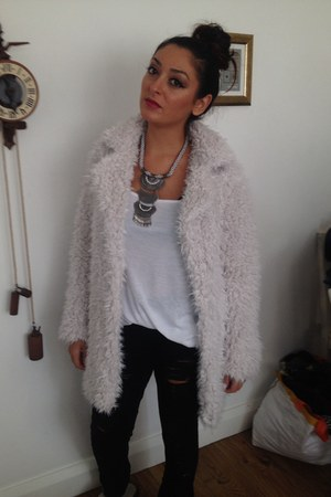 white shaggy coat Primark coat - white coat