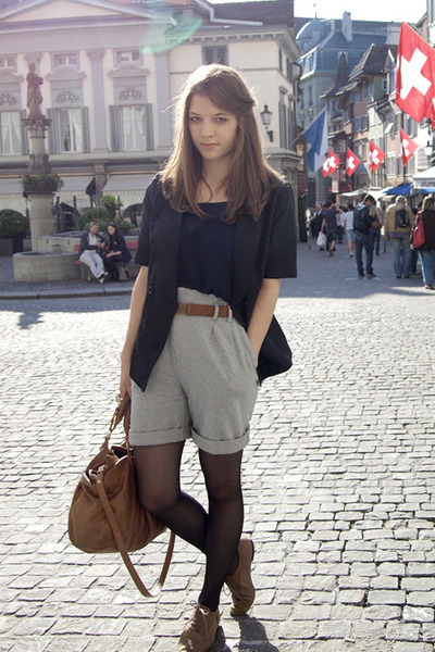 gray Zara shorts - brown H&M Trend belt - blue Gap vest - blue H&M Trend blazer