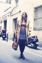 camel Uniqlo coat - heather gray Uniqlo skirt - silver Ebay accessories