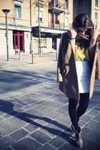 Zara boots - Uniqlo coat - a-line Zara skirt - silk Forever 21 blouse