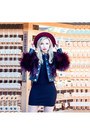 Black-knit-forever-21-dress-crimson-lindex-hat-black-balmain-x-h-m-jacket