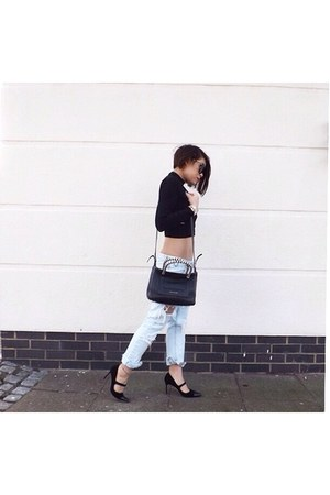 black dune boots - black boyfriend jeans One Teaspoon jeans