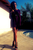 magenta Thrift Store dress - black Thrift Store belt - black reflections pumps