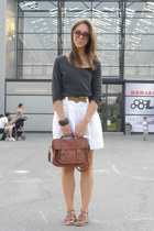 dark brown New Yorker bag - white Promod skirt - gray H&M blouse
