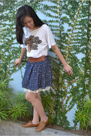 cream Fashion Experiment skirt - navy As Fashion Spot skirt