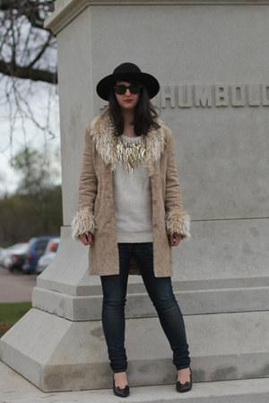 thrifted vintage coat - rag & bone jeans - black H&M hat - Kokorokoko sweater